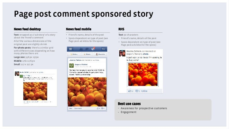 Page post comment sponsored storyNews feed desktop                           News feed mobile                          RHS...
