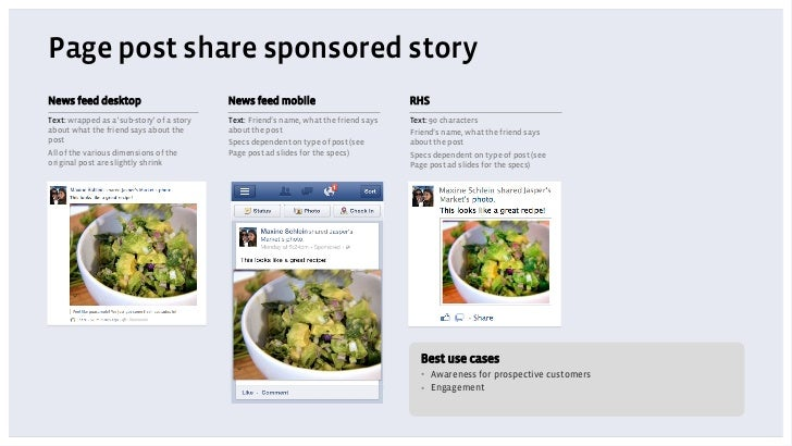 Page post share sponsored storyNews feed desktop                           News feed mobile                            RHS...