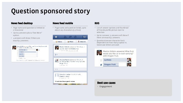 Question sponsored storyNews feed desktop                         News feed mobile                          RHS• Page nam...