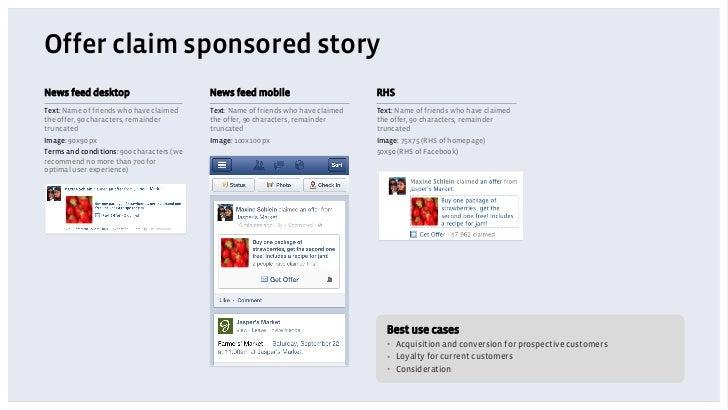 Offer claim sponsored storyNews feed desktop                          News feed mobile                         RHSText: Na...