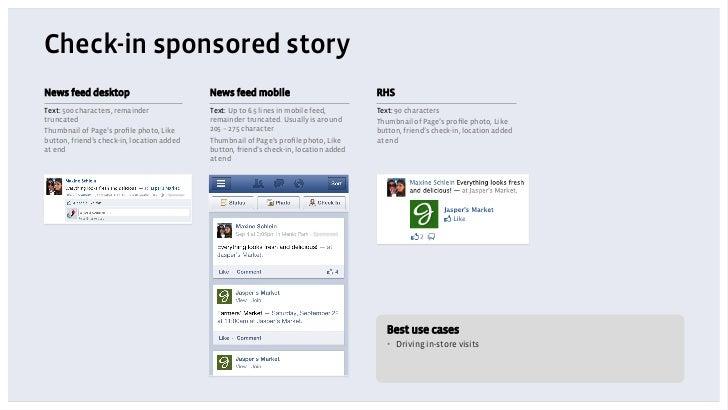 Check-in sponsored storyNews feed desktop                           News feed mobile                            RHSText: 5...