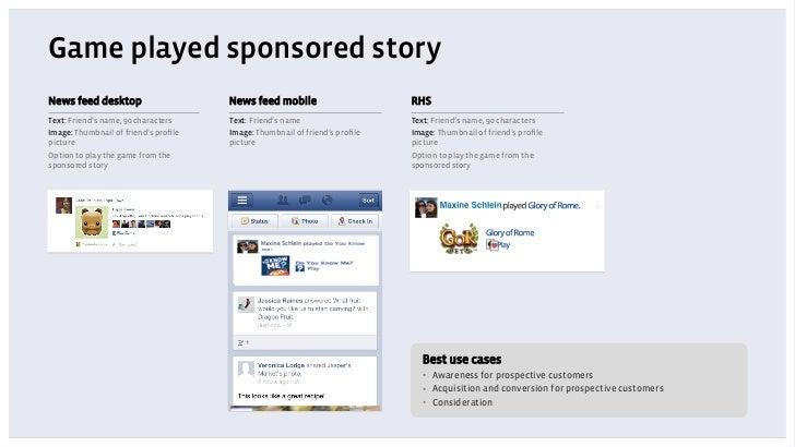 Game played sponsored storyNews feed desktop                     News feed mobile                      RHSText: Friend's n...