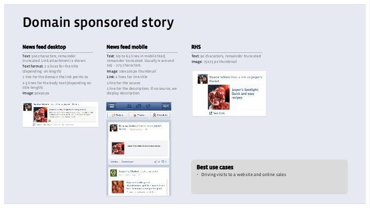 Domain sponsored storyNews feed desktop                           News feed mobile                               RHSText: ...