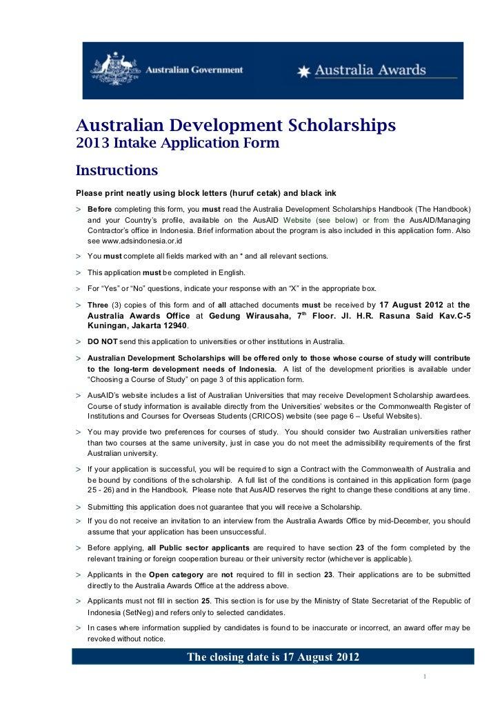 Australian Development Scholarships2013 Intake Application FormInstructionsPlease print neatly using block letters (huruf ...