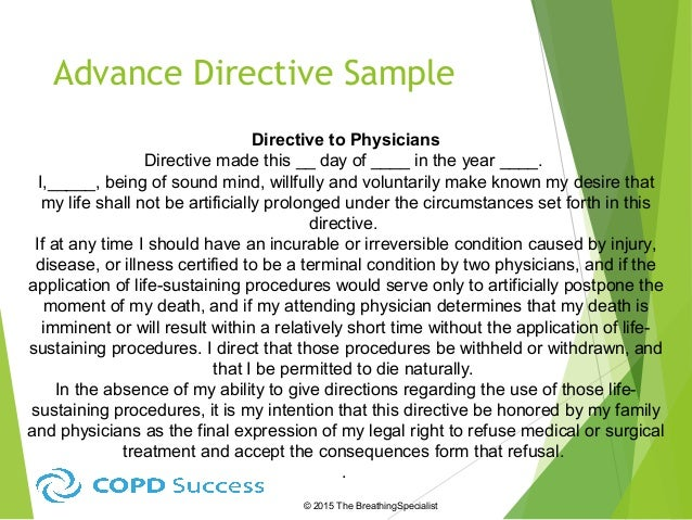 Advance Directives for Beginners – Sample Advance Directive Form