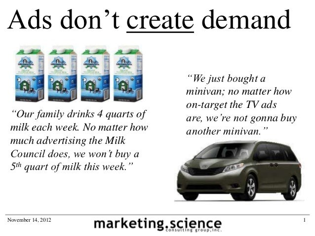 """Ads don't create demand                                  """"We just bought a                                  minivan; no ma..."""