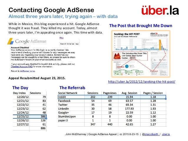 Contacting Google AdSense Almost three years later, trying again – with data John McElhenney | Google AdSense Appeal | cc ...