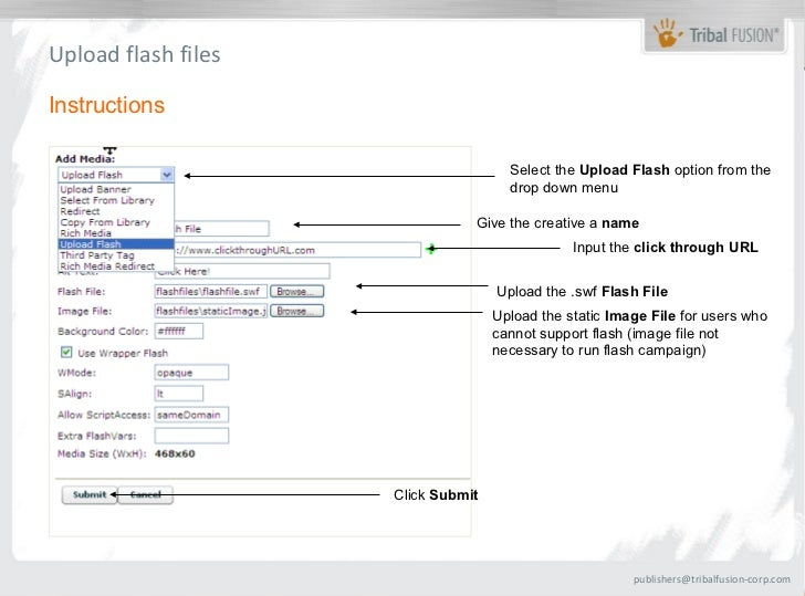 Upload flash filesInstructions                                      Select the Upload Flash option from the               ...