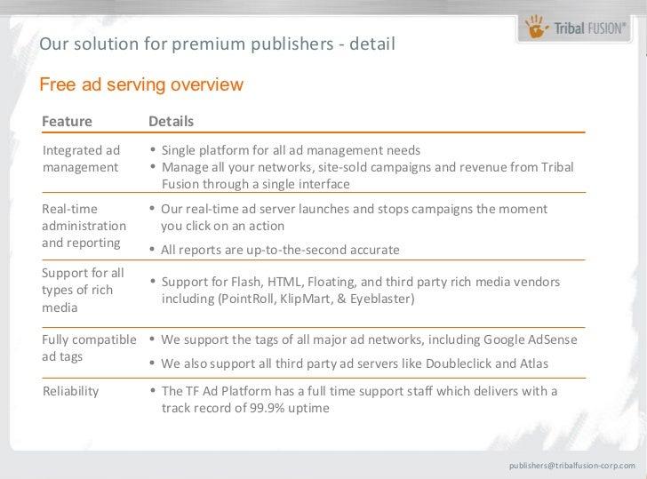 Our solution for premium publishers - detailFree ad serving overviewFeature           DetailsIntegrated ad     • Single pl...