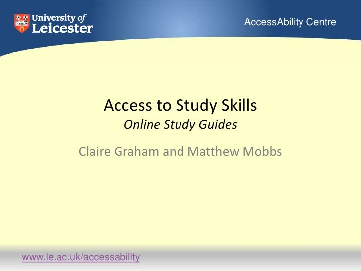 Access to Study SkillsOnline Study Guides<br />Claire Graham and Matthew Mobbs<br />