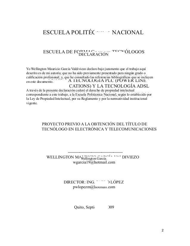 ESCUELA POLITÉCNICA NACIONAL            ESCUELA DE FORMACIÓN DE TECNÓLOGOS                         DECLARACIÓNYo Wellingto...