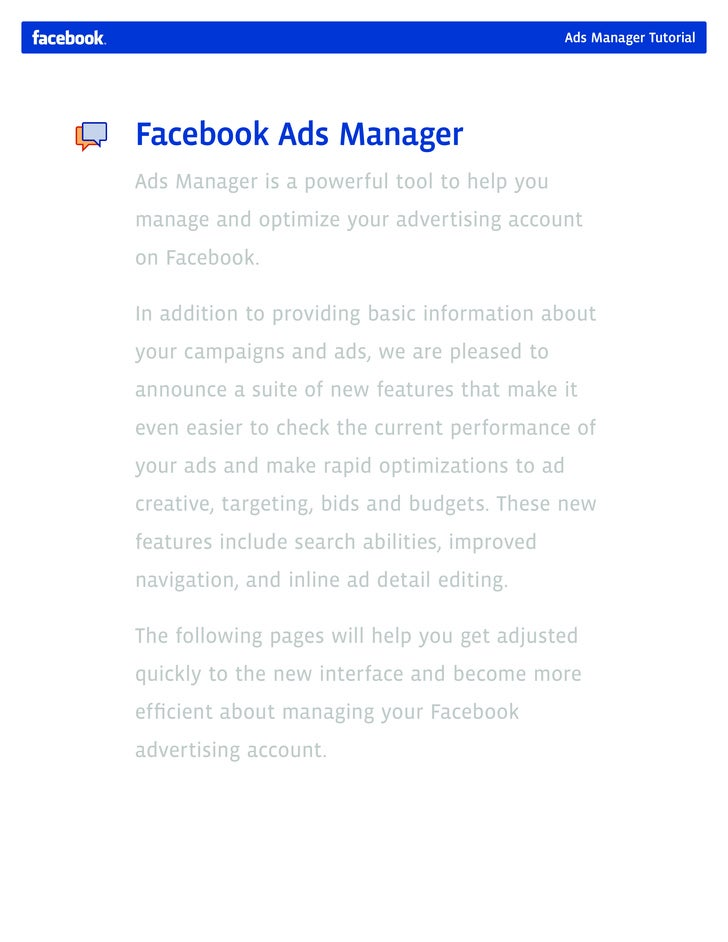 how to use the facebook ads manager