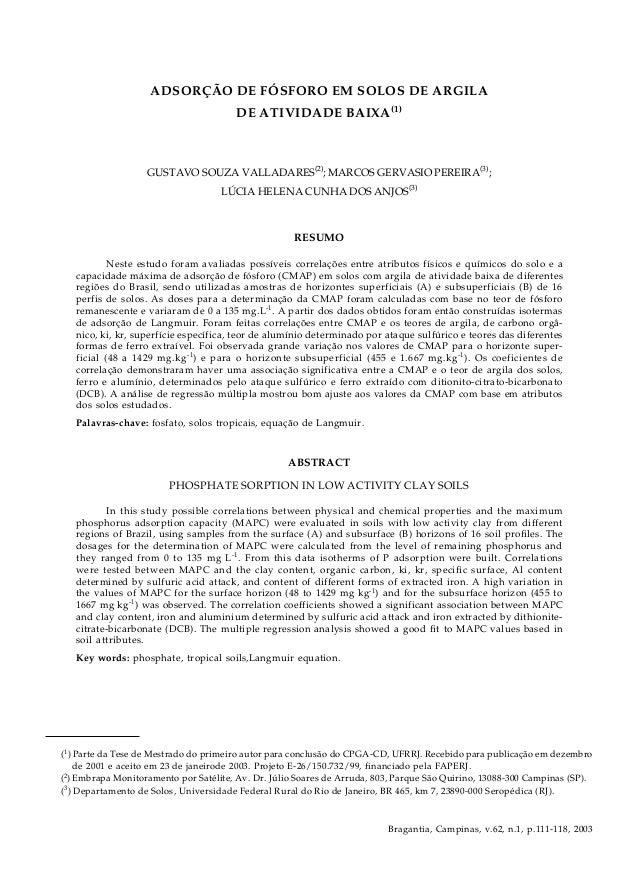 Adsorção de fósforo em solos de argila de atividade baixa 111 Bragantia, Campinas, v.62, n.1, p.111-118, 2003 (1 ) Parte d...
