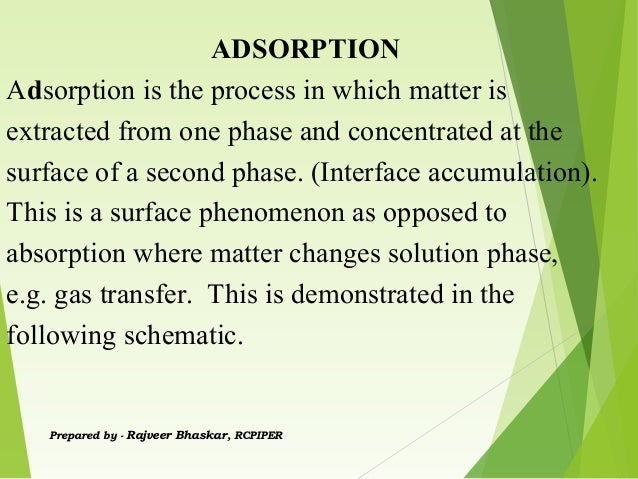 ADSORPTION Adsorption is the process in which matter is extracted from one phase and concentrated at the surface of a seco...