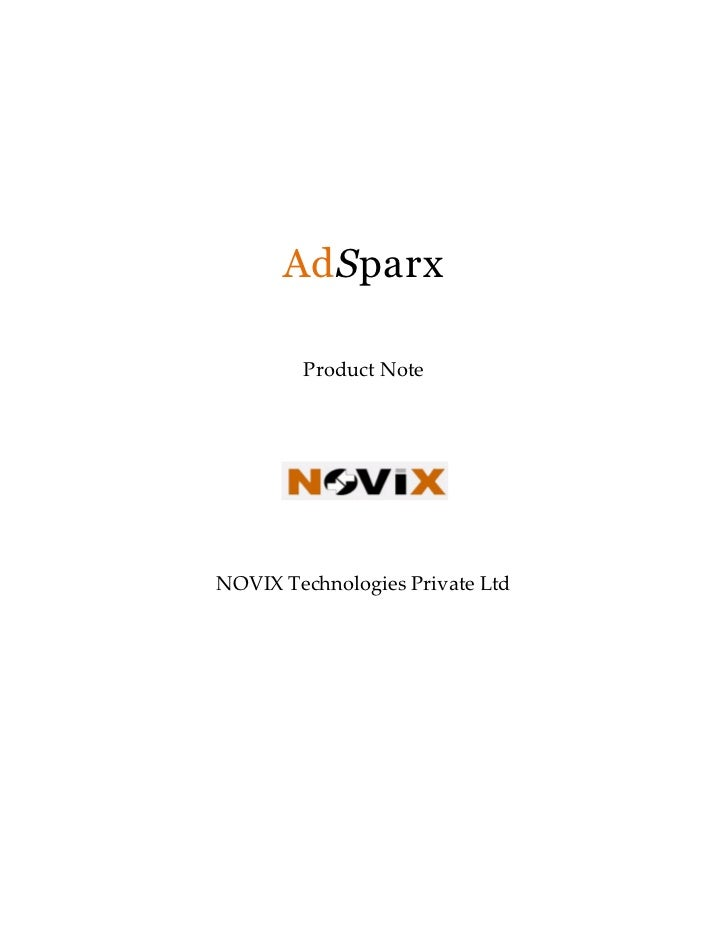 AdSparx        Product NoteNOVIX Technologies Private Ltd