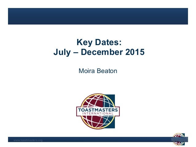 Area Director's year 2015. To-do's for the first six months Slide 2