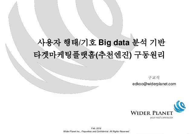 11 rgetin및 Feb. 2016 Wider Planet Inc., Properties and Confidential. All Rights Reserved 사용자 행태/기호 Big data 분석 기반 타겟마케팅플랫홈...