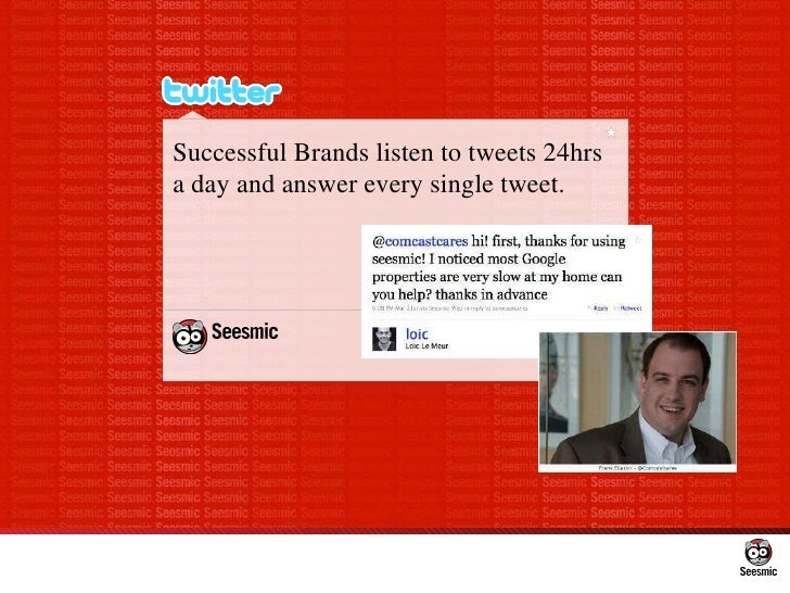 Successful Brands listen to tweets 24hrs a day and answer every single tweet.