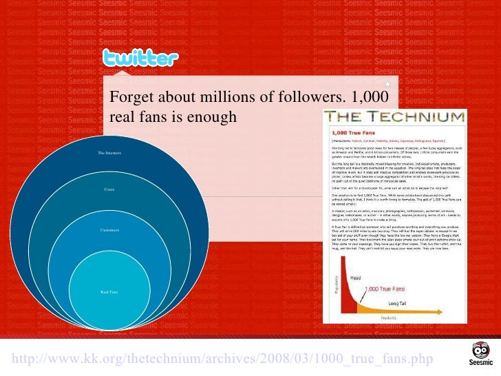 Forget about millions of followers. 1,000 real fans is enough http://www.kk.org/thetechnium/archives/2008/03/1000_true_fan...