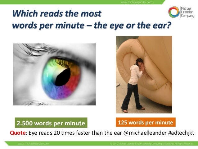 Which  reads  the  most     words  per  minute  –  the  eye  or  the  ear?   2.500  words  ...