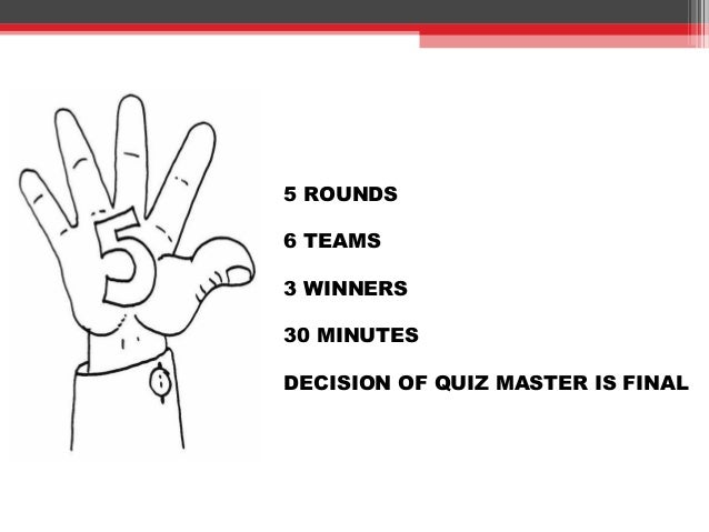 5 ROUNDS 6 TEAMS 3 WINNERS 30 MINUTES DECISION OF QUIZ MASTER IS FINAL