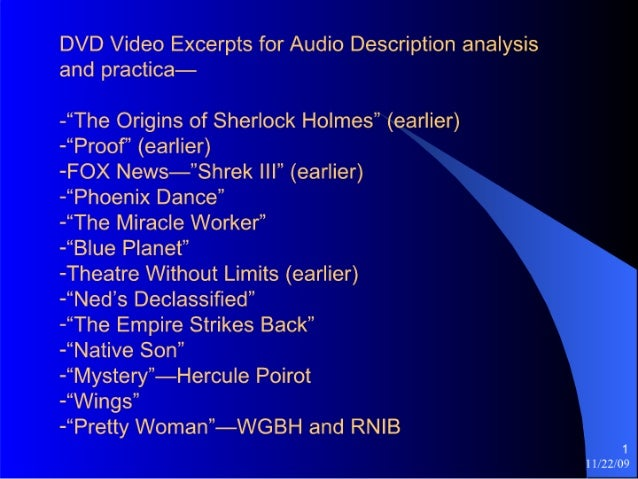 """DVD Video Excerpts for Audio Description analysis and practica-  -""""The Origins of Sherlock Holmes"""" (earlier) -""""Proof"""" (ear..."""