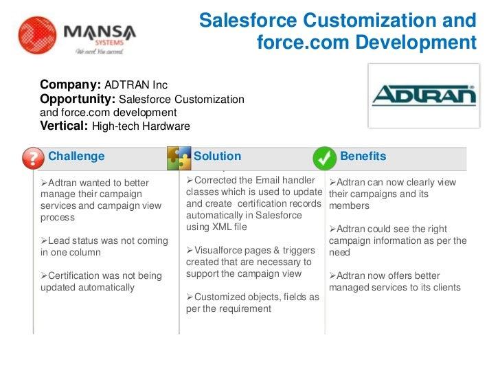Salesforce Customization and                                           force.com Development    Company: ADTRAN Inc    Opp...