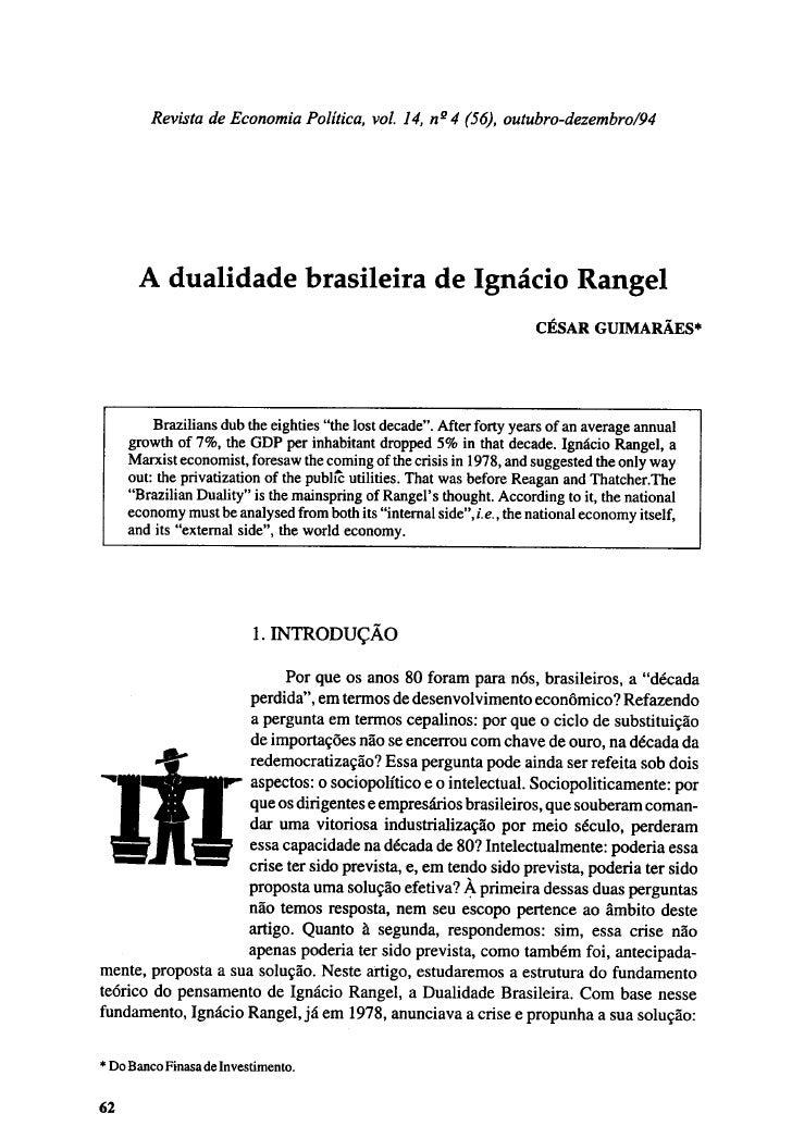 A dualidade brasileira de Ignácio Rangel