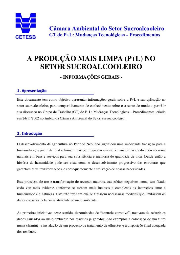 Câmara Ambiental do Setor Sucroalcooleiro                     GT de P+L: Mudanças Tecnológicas – Procedimentos      A PROD...