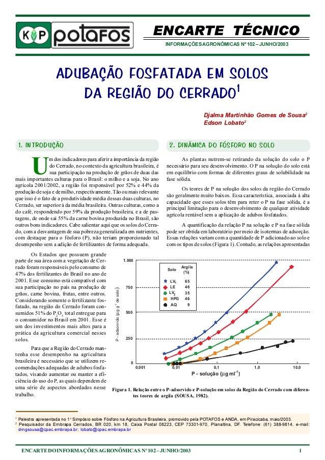 ENCARTE TÉCNICO  INFORMAÇÕES AGRONÔMICAS Nº 102 – JUNHO/2003  ADUBAÇÃO FOSFATADA EM SOLOS  DA REGIÃO DO CERRADO1  Djalma M...
