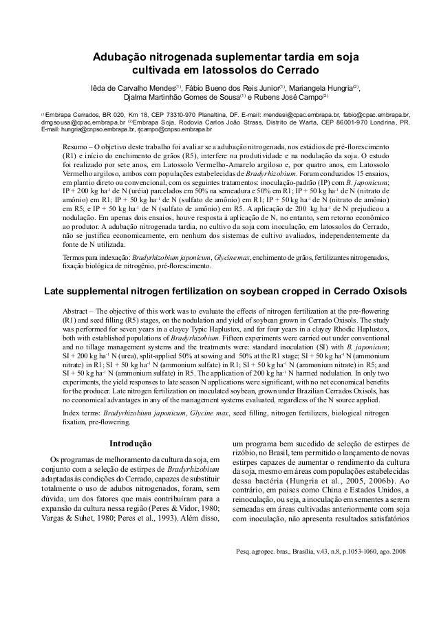 Pesq. agropec. bras., Brasília, v.43, n.8, p.1053-1060, ago. 2008 Adubação nitrogenada suplementar tardia em soja cultivad...