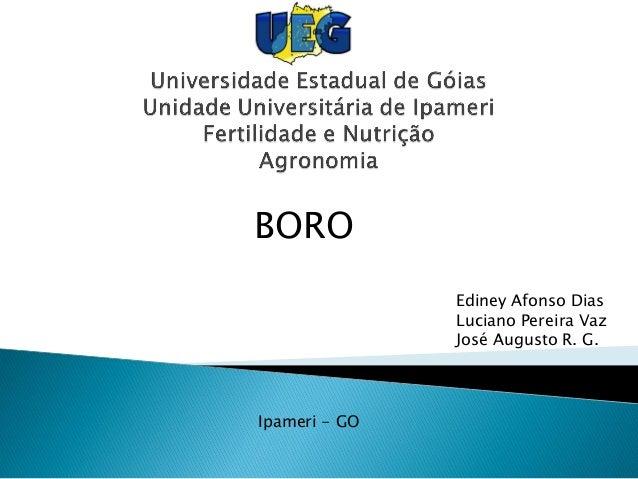 BORO Ediney Afonso Dias Luciano Pereira Vaz José Augusto R. G. Ipameri - GO
