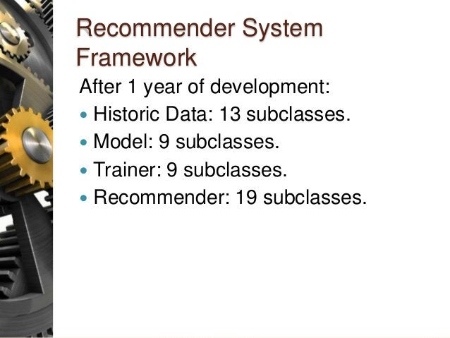 Recommender System Framework After 1 year of development:  Historic Data: 13 subclasses.  Model: 9 subclasses.  Trainer...