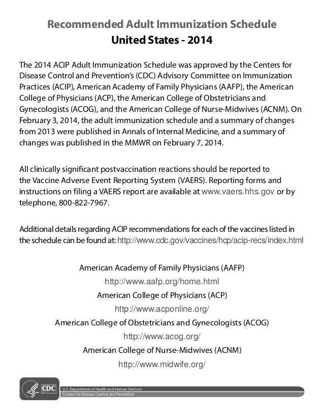 Recommended Adult Immunization Schedule United States - 2014 The 2014 ACIP Adult Immunization Schedule was approved by the...