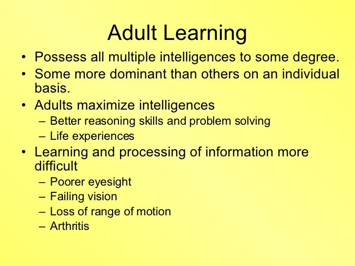 Visible, adult intelligences multiple can