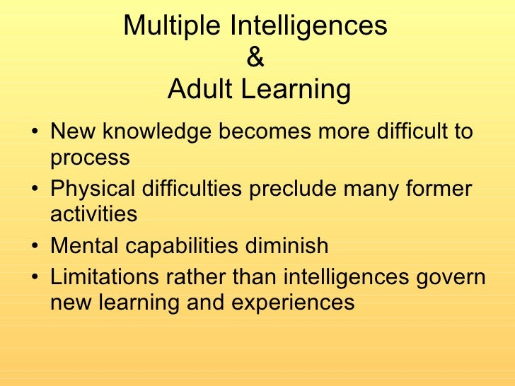 Multiple intelligences and adults