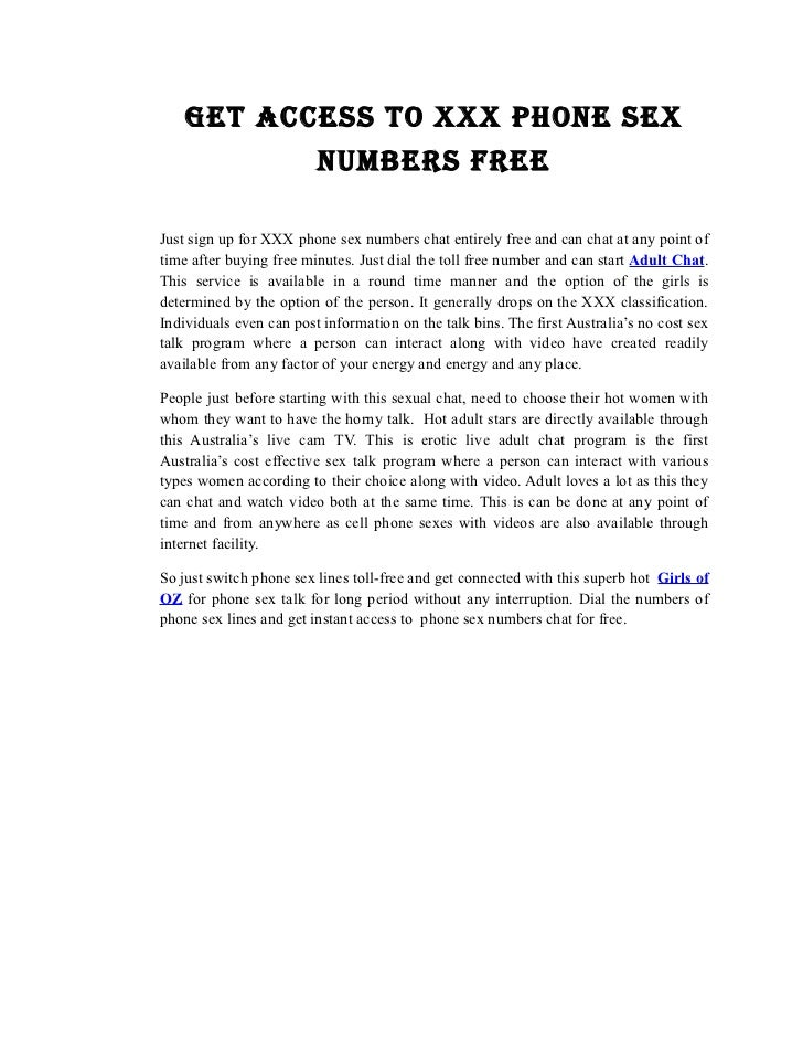 Free sex talk numbers