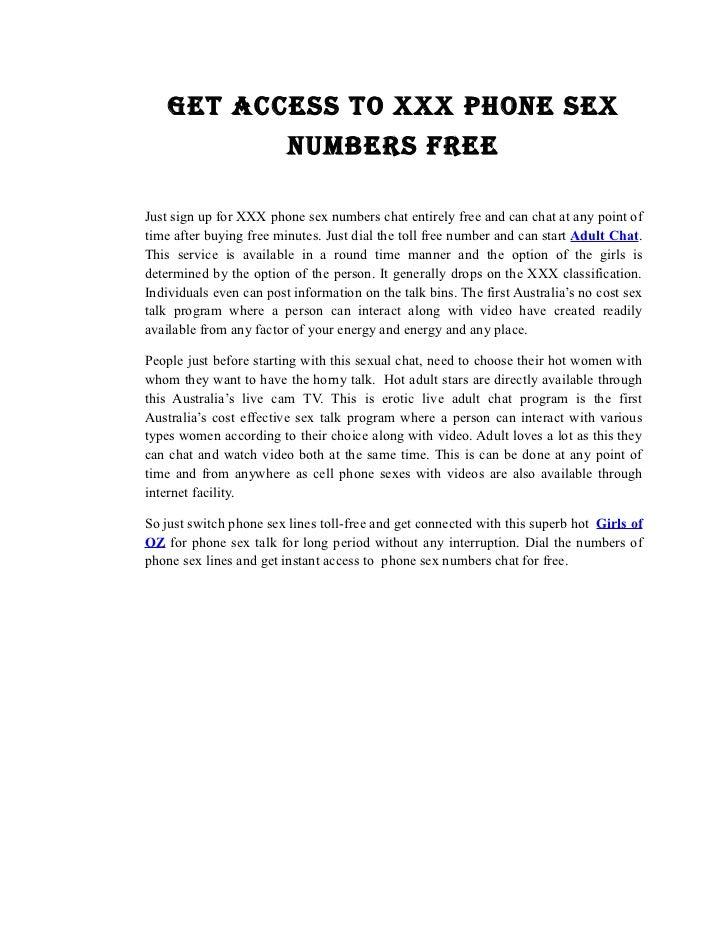 Free sex talk phone numbers