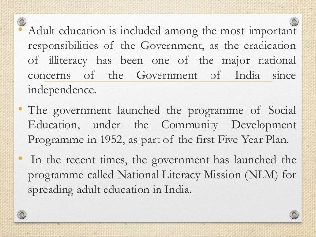 Importance of education for illiterate adults