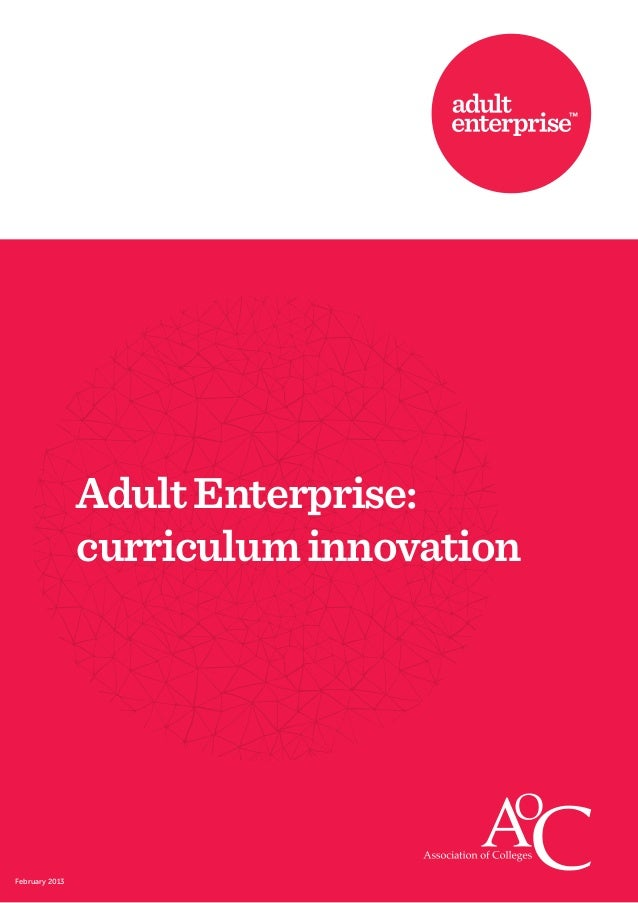 Adult Enterprise:                curriculum innovationFebruary 2013