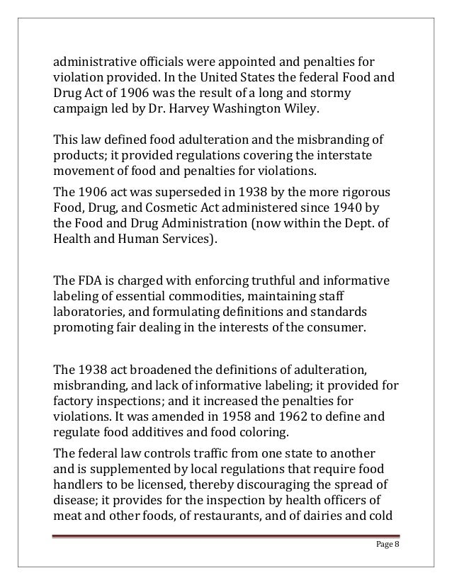 an introduction to the fda wpa and food acts in the united states An official website of the united states government  about pesticide tolerances  the federal food, drug, and cosmetic act was amended to include the food.
