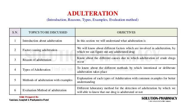 Adulteration of Crude Drug and Evaluation Methods  Slide 2