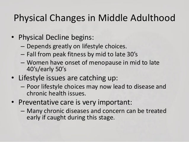 health issues from middle to late adulthood