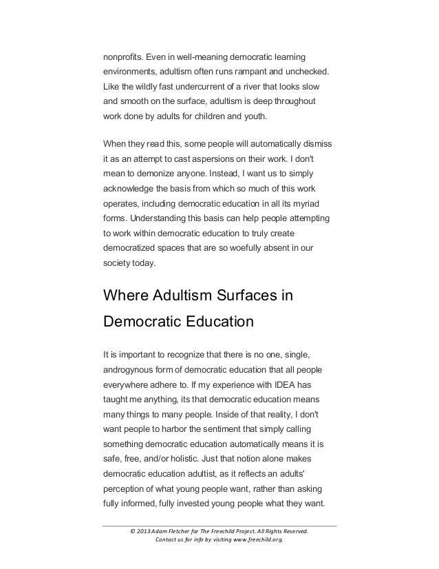 Adultism in Democratic Education by Adam Fletcher Slide 2