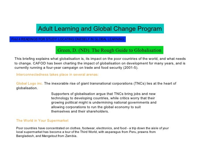 Adult Learning and Global Change Program First 4 READINGS FOR STUDY: LOCATING ONESELF IN GLOBAL LEARNING                  ...