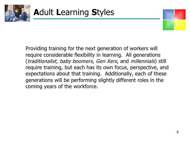 Learning presentation styles for adults