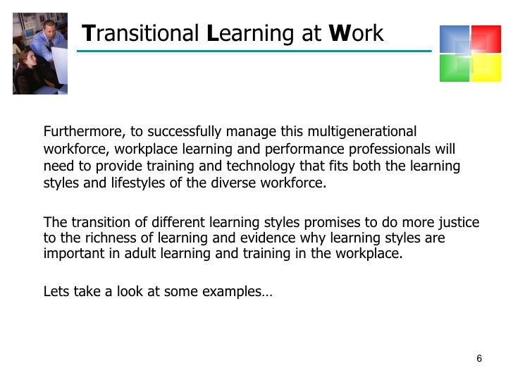 learning styles presentation Learners with this style may prefer something like a powerpoint presentation with  graphs or moving graphics, as opposed to a traditional.