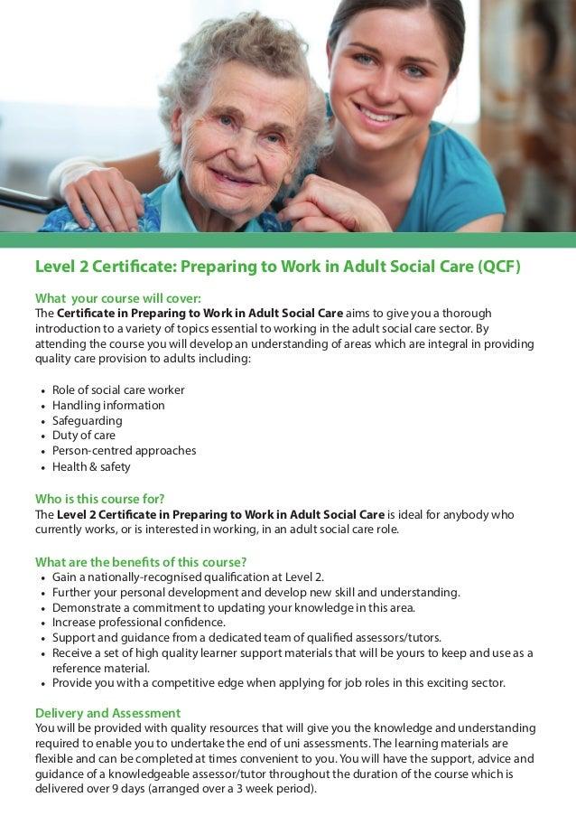 ... Adult Social Care (QCF)PPrreeppaarriinngg ttoo; 2.