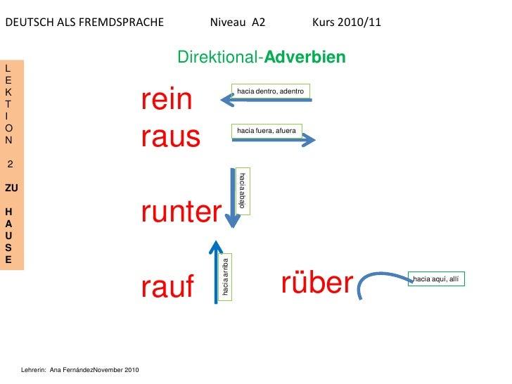 DEUTSCH ALS FREMDSPRACHE                           Niveau A2                                Kurs 2010/11                  ...