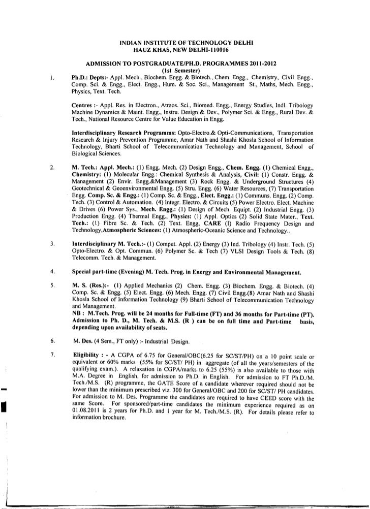 INDIAN INSTITUTE OF TECHNOLOGY DELHI                                 HAUZ KHAS, NEW DELHI-II0016               ADMISSION T...